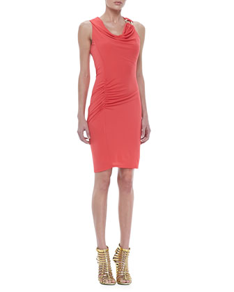 Sleeveless Ruched Drape Dress
