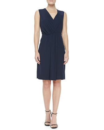 V-Neck Faux-Wrap Dress