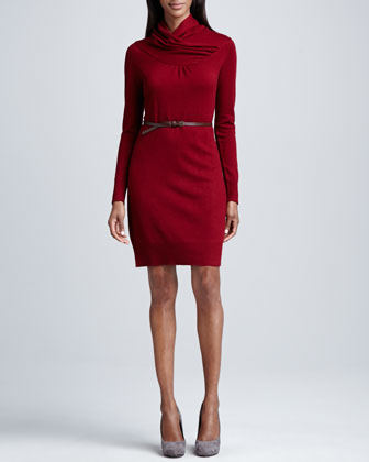 Overlap-Collar Cashmere Belted Dress