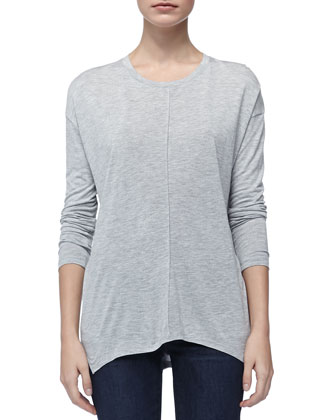 Long-Sleeve Slub Tee, Heather Gray