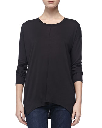 Long-Sleeve Slub Tee, Black