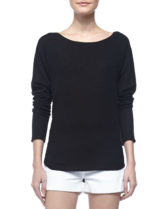 Long-Sleeve Cashmere Top & Cool Skinny Cuffed Shorts