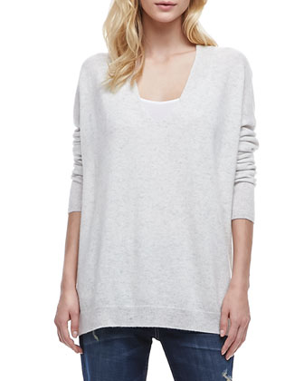 Long-Sleeve Cashmere Sweater & Mason Relaxed Rolled Jeans