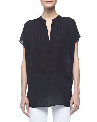 Cap-Sleeve Silk Popover Blouse, Black