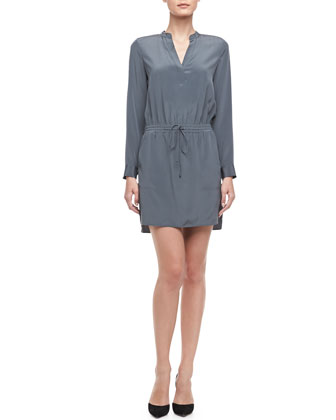 Silk Drawstring Shirtdress
