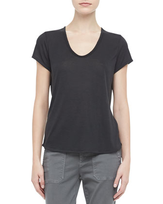 Scoop-Neck Slub Tee & Cuffed Twill Military Pants