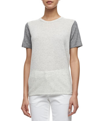Colorblock Short-Sleeve Cashmere Tee