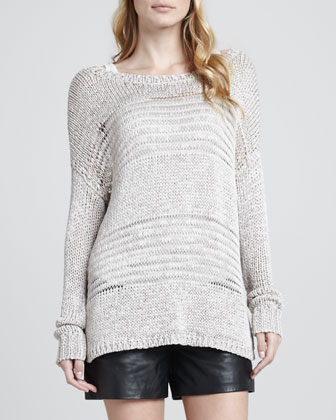 Shadow-Stripe Knit Sweater