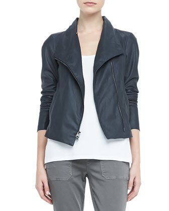 Lightweight Leather Zip Jacket, Loose Sleeveless Jersey Tank & Cuffed Twill ...