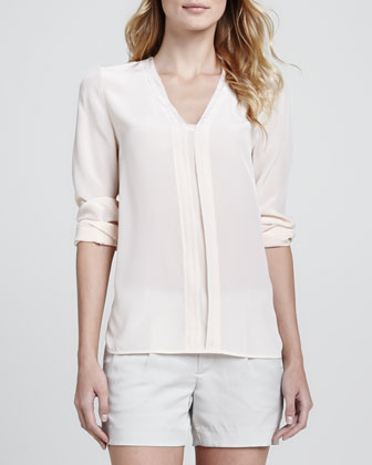 Silk Long-Sleeve Blouse, Blossom & Silk Tipped Waistband Short