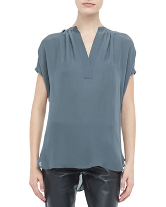 Silk Short Sleeve Blouse