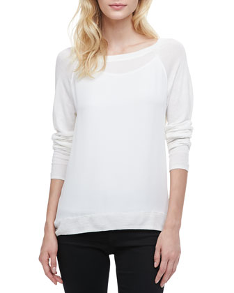 Mixed-Fabric Long-Sleeve Sweater, White
