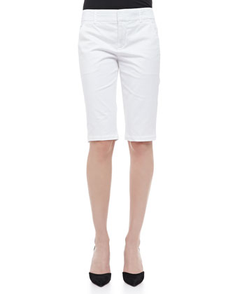 Contrast-Trim Slub Top & Side-Buckle Bermuda Shorts