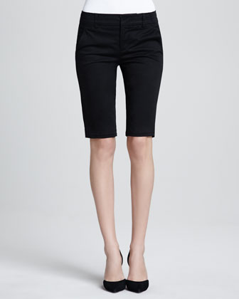Side-Buckle Bermuda Shorts