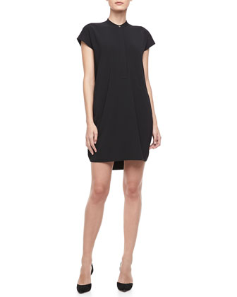 Cap-Sleeve Loose Dress, Black