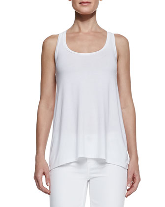 Ribbed Draped Open Cardigan, Loose Sleeveless Jersey Tank & Dylan Slim ...