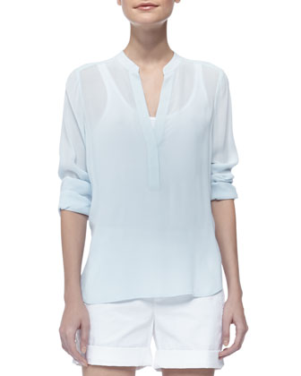 Comfortable Relaxed-Fit Shorts & Long Sleeve Crepe Shirt
