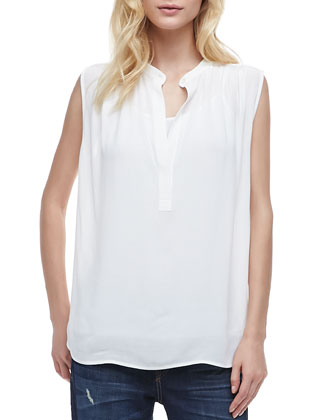 Sheer Sleeveless Casual Shirt