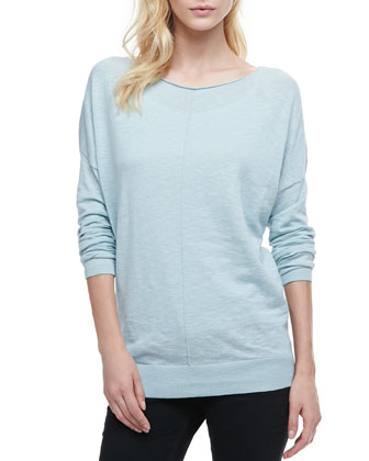 Cotton Slub Rib-Trim Sweatshirt, Aqua