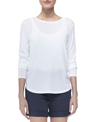 Long-Sleeve Slub Tee, White