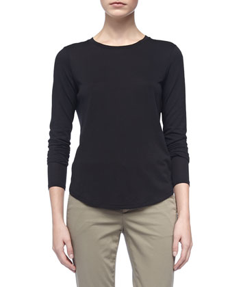 Long-Sleeve Knit Tee & Straight-Leg Twill Capri Pants