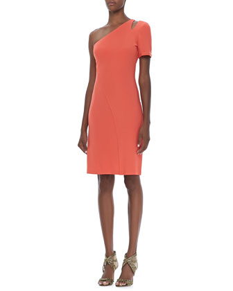Single-Sleeve Crepe Dress, Tangelo