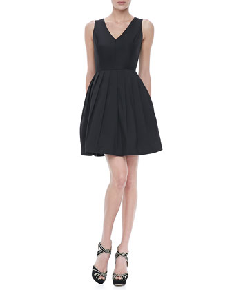 V-Neck Full-Skirt Dress, Black
