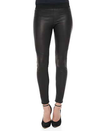 Raven Knit-Waist Leather Leggings