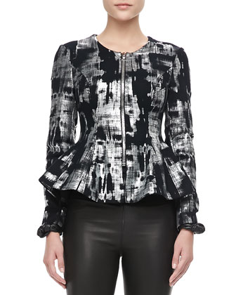 Fresca Metallic Peplum Jacket & Raven Knit-Waist Leather Leggings