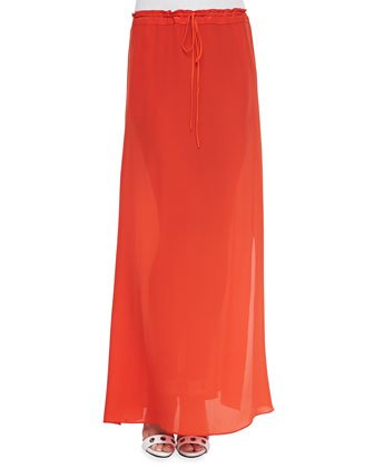 Matte Maxi Skirt with Drawstring Waist