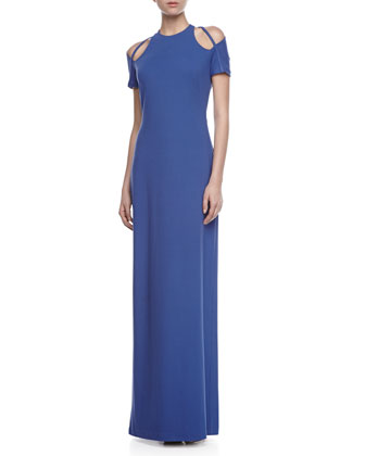 Cutout-Shoulder Gown, Ultramarine