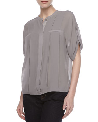 Pleated Silk Sheer Blouse, Flint