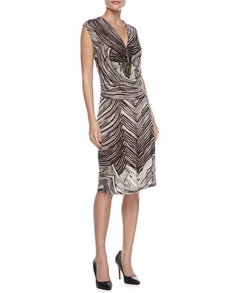 Printed Draped-Front Dress