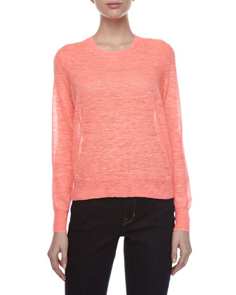 Long-Sleeve Linen-Blend Sweater, Guava