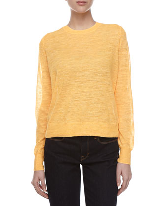 Long-Sleeve Linen-Blend Sweater, Nectar
