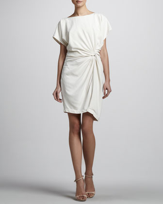 Twisted-Front Short-Sleeve Dress