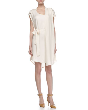 Self-Tie Waist Dress with Scarf, Cream