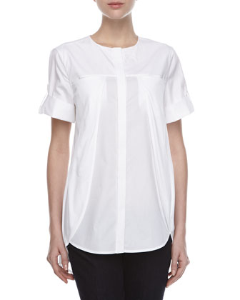 Short-Sleeve Overlay Cotton Shirt