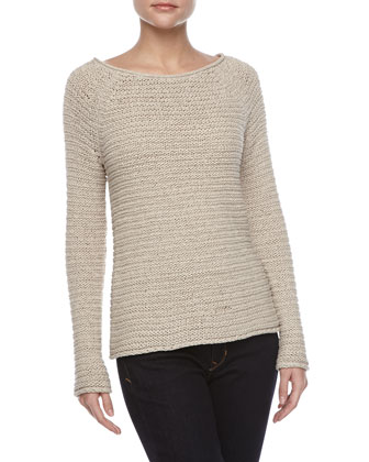 Raglan-Sleeve Textured Sweater