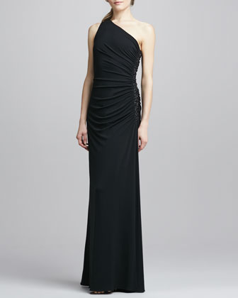 One-Shoulder Beaded Side Gown, Black