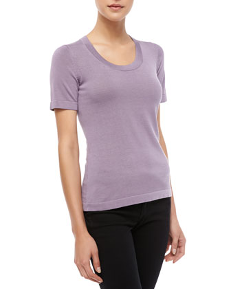 Short-Sleeve Knit Top, Lilac