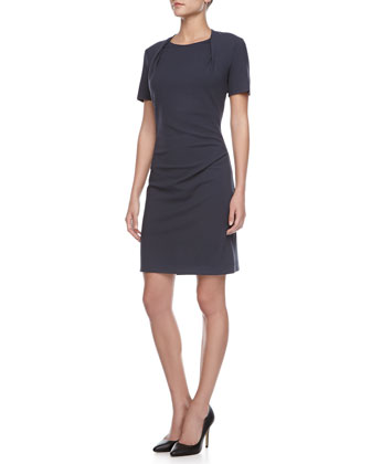 Pleated-Crewneck Jersey Dress