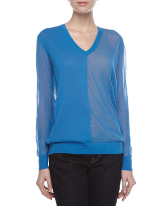 V-Neck Sheer Knit Combo Tunic
