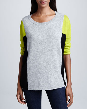 Cashmere Colorblock 3/4-Sleeve Top