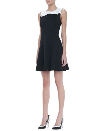 Crisscross Two-Tone Ponte Dress