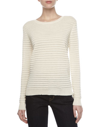 Ottoman Stripe Long-Sleeve Sweater, Cream