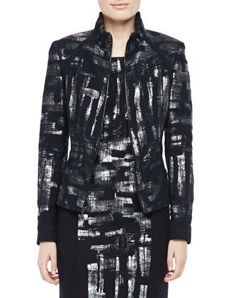 Metallic-Detail Jacket & Print Dress