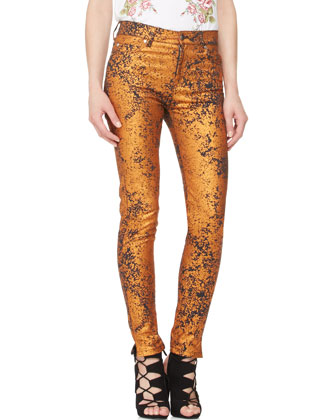 Metallic High-Waist Skinny Jeans