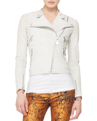 Shrunken Leather Jacket, Rose-Embroidered Tank & Metallic Skinny Jeans