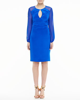 Long-Sleeve Keyhole Cocktail Dress